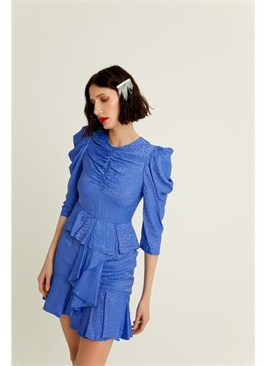 Rue Mavi Drapeli Volanlı Saten Mini Elbise Mavi
